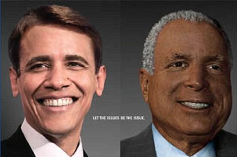 Fargebytte benyttet som reklame i valgkampen for å få velgerne til å drite i raseforskjellen.