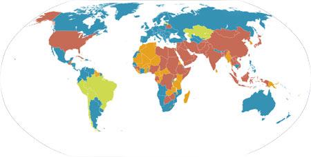 Verdenskart med navn på land